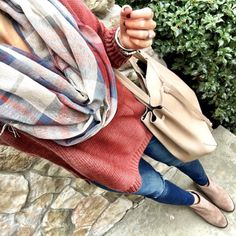 IG @mrscasual <click through to shop this outfit> Rust Sweater plaid scarf ankle booties