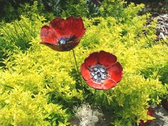 2 wunderschöne, handgetöpferte Keramik Mohnblüten 'POPPIES'.  11cm Ø und 10cm Ø mohnroter Glasur und tollen leicht orangen u. silberschwarzen Farb-...