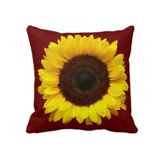 Yellow Sunflower on Burgundy Throw Pillow by angelworks. Burgundy Bedroom, Burgundy Living Room, Sunflower Room, Yellow Sunflower, Sunflower House, Sunflower Crafts, Custom Pillows, Decorative Pillows, Beige Throws