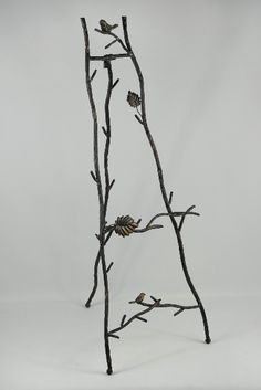 """35"""" Twig Branch & Bird Metal Easel $13 each-to go with your bird thing.  Seems to be becoming a theme..."""