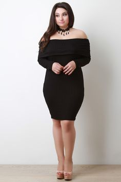b5343493c7942 Ribbed Knit Off The Shoulder Bodycon Dress. Plus Size Bodycon DressesBodycon  ...
