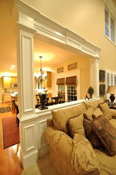 Pony wall / Room divider trim with column.