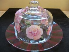 CAKE PLATE WITH MATCHING DOME, HAND-PAINTED OVER CLEAR GLASS #Unbranded