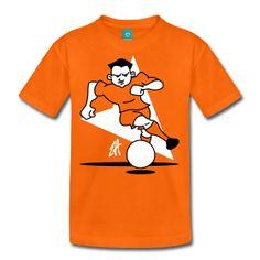 Oranje voetballer T-Shirt. Voor fans van het Nederlands Elftal. www.Tekenaartje.nl #NED #NL #Oranje #Holland #Nederland #wk14 #wk2014 #wc14 #Brazil2014 #AusNed #Leeuw #Tshirt #Tshirtdesign #voetbal #dailydrawing #tekening #Orange #Spreadshirt #Cardvibes #Tekenaartje