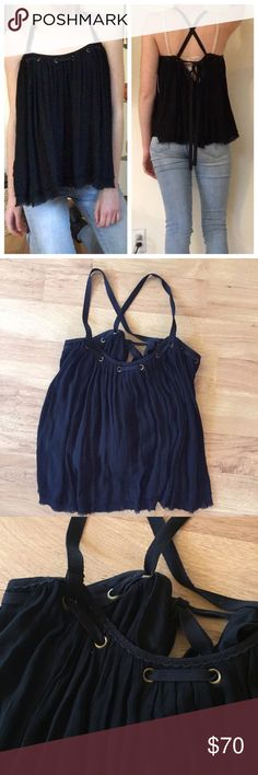 New Free People Black Lace Up Top ⚜️I love receiving offers through the offer button!⚜️ Great condition, as seen in pictures! Fast same or next day shipping!📨 Open to offers but I don't negotiate in the comments so please use the offer button😊 Free People Tops Tank Tops