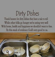 Kitchen Wall Decal Dirty Dishes vinyl lettering by HouseHoldWords, $25.00