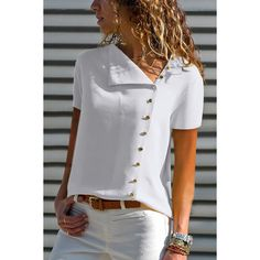 Short sleeve buttoned casual blouse autumn women elegant plus size xxxl basic shirt female ol work leisure white top-in блузки и? Убашки from женская одежда on a alibaba group Mode Xl, Short Sleeve Blouse, Long Sleeve, Chiffon, Trend Fashion, Women's Fashion, Work Casual, Shirt Blouses, Blouses For Women