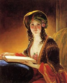 "✉ Biblio Beauties ✉ paintings of women reading letters  books - ""Oriental Woman"", c. 1838 / Friedrich von Amerling"