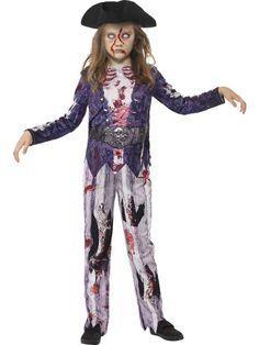 Disfraz zombie pirata niña Halloween: Este disfraz de pirata zombie para niña incluye parte superior, pantalón y sombrero (zapatos no incluidos). La camiseta imita una chaqueta de color violeta con una caja torácica...