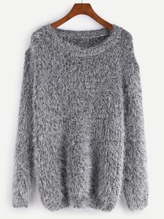 Shop Grey Drop Shoulder Fuzzy Sweater online. SheIn offers Grey Drop Shoulder Fuzzy Sweater & more to fit your fashionable needs.