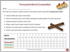 music lessons | Music composition | Music education | Create and Perform with Percussion Instruments Here is a series of fun activities for your music class while reinforcing the concepts of: ♦️ beat, ♦️ rhythm, ♦️ performance and ♦️ music notation. #musiceducation