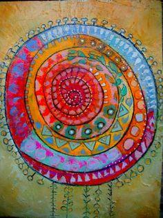 "- Photo of 365 days of art - A Painting A Day - Une peinture par jour - Elke Trittel Art - * sun by Elke Trittel ""When nothing is going on I think of you You are my sun No longer cold When n - Art Journal Inspiration, Painting Inspiration, Illustration Photo, Circle Art, Aboriginal Art, Art Plastique, Fabric Art, Textile Art, Art Images"