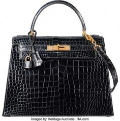 0891d42b6e Hermes 28cm Shiny Black Crocodile Sellier Kelly Bag with GoldHardware. T
