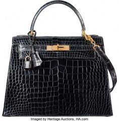 ab256ef027 Hermes 28cm Shiny Black Crocodile Sellier Kelly Bag with GoldHardware. T