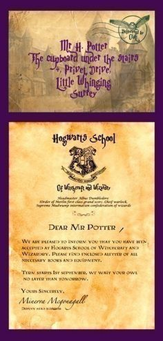 Just came up with the perfect birthday invitation! An invitation that looks just like a Hogwarts acceptance letter! Love love love