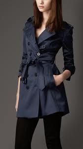 by Burberry - Blue Mid-Length Trench Coat, Fashion Military Trench Coat, Navy Trench Coat, Trench Coat Outfit, Trench Coats, Trenchcoat Style, Burberry Trenchcoat, Fashion Mode, Look Fashion, Fashion Outfits