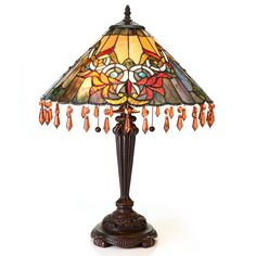 "Tiffany-Style 23.5"" Acropolis Beaded Shaded Stained Glass Table Lamp ShopHQ.com"