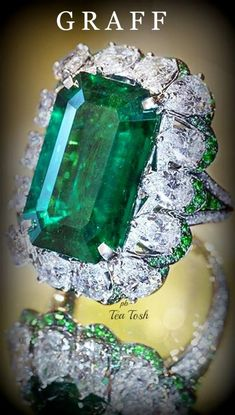 Rate this from 1 to Emerald Gemstones Eugenia Loli deep emerald. Looks like Zambian emerald with bluish hue… Refer: Shop Now Graff Jewelry, Emerald Jewelry, Emerald Gemstone, Emerald Diamond, High Jewelry, Diamond Jewelry, Jewelry Rings, Emerald Cut, Emerald Rings