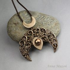 RESERVED Herbarium - bronze lunula pendant with flowers and bronze pearl
