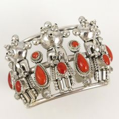 Coral Mudhead Cuff by Toby Henderson - Garland's Indian Jewelry