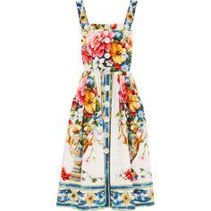Dolce & Gabbana Floral-print cotton-poplin midi dress ($2,060) ❤ liked on Polyvore featuring dresses, mid calf dresses, colorful dresses, midi dress, flower midi dress and strappy midi dress