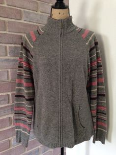Eddie Bauer Gray Lambs Wool Long Sleeve Sweater Full Zip Size Large Pink Striped | eBay