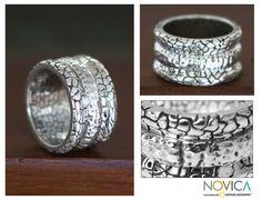 Men's Modern Sterling Silver Band Ring - Cobbled Paths | NOVICA