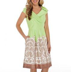 V-Neck Surplice Border Print Dress.