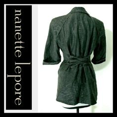 Nanette lepore distressed cinch back jacket 10 Gorgeous nanette lepore linen blend cinch back jacket.  Distressed gray color. Size says 10.  Bust is 36 inches. Length is 28 inches.  Excellent pre owned condition. Nanette Lepore Jackets & Coats