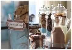 fun, milk and cookies baby shower theme, blue and brown, would be cute for a sip & see @Briana Harrison, what do you think???