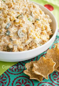 Cool, Creamy, Cheesy Corn Dip. Gonna make this for the cookout tonight!