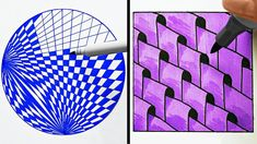 3d Art Drawing, Geometric Drawing, Cool Art Drawings, Art Drawings Sketches, Geometric Mandala, Art 3d, Zentangle Drawings, Zentangle Patterns, Doodles Zentangles