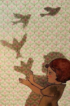 I love how simple, yet evocative, it is. It's the use of color and movement, I think. (This is a fairly simple illustration. This looks like it was created back in the late 1900s because of the wallpaper and the girl's outfit. The girl is created out of black outlines, simple shapes, and some shadows. The shadows on the wall is my favorite part about this. I love how the artist showed the bird flying in 4 different steps. )