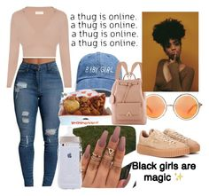 """Melanin Poppin"" by weirdsauce ❤ liked on Polyvore featuring Shakuhachi and Puma"