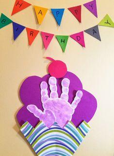 Birthday Ice Cream Handprint Children Activities, Birthday Board, Baby Art, Ice Cream, Kids Rugs, Home Decor, Toddler Activities, Birthday Display Board, No Churn Ice Cream