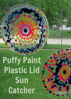 Puffy Paint Plastic Lid Suncatcher  - Creativity for Kids' 3D Wonder Paint would work well with this craft.  #Kids #Craft