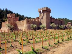 Castello di Amorosa Winery is located near Calistoga, CA. The 121,000-square-foot medieval replica castle includes 107 rooms and 8 levels above and below ground. Among its many features, it has a moat, drawbridge, defensive towers, interior courtyard, chapel, torture chamber and a great hall. Visitors to the vineyard can sample the wines sold at the castle.