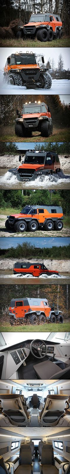 In case of zombies, there's all-terrain vehicles, and then there's the Avtoros Shaman 8×8 all-terrain vehicle – the end all, be all for ATVs. Measuring in at 6 meters long, 3 meters high, and 2.5 meters wide, this 2.5-ton beast can tackle literally any terrain, from land and snow right down to floating through water. The vehicle is powered by an Iveco F1C 3.0-liter turbo diesel that pumps out 146-horsepower through a 6-speed manual gearbox, but it's the steering system that makes this thing…