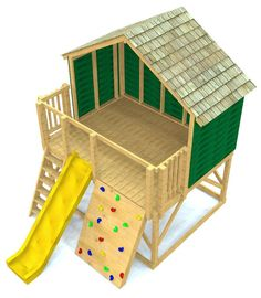 open play-set with a gable roof, rock wall, slide and ship ladder