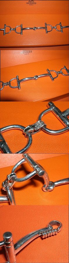 Vintage Hermès Horse Bit Bracelet with intricate link detailing. I like this bracelet because the actual D-ring shape reminds me of the custom d-ring bits we used to see in the hunter ring years ago. They were very fine and enhanced a horse with a beautiful profile.