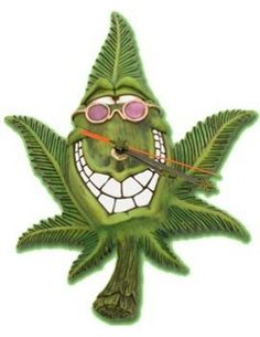 """The best Cannabuds Clock, are very amazing to purchase and this is very useful item for everyone also a good a present for someone special. A wacky clock which will liven up any room which is shaped in a crazy marijuana leaf with a joyous expression, like hes saying """"OOOHH YEAHHH!!! .http://www.skunkhouse.co.uk/"""