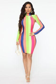 Cut The Line Striped Midi Dress - Multi Color – Fashion Nova Striped Midi Dress, Spaghetti Strap Dresses, Classy Dress, Nice Dresses, Women's Dresses, Colorful Fashion, Party Dress, Sexy Women, Fashion Dresses