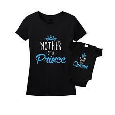 Mother of a Prince & Son of a Queen Mommy And Me Matching Set Shirt Bodysuit Clothing Mom Of Boys Shirt, Mommy And Me Shirt, Mommy And Son, Mom And Baby, Mom Son, Baby Baby, Mom And Son Outfits, Family Outfits, Baby Boy Outfits