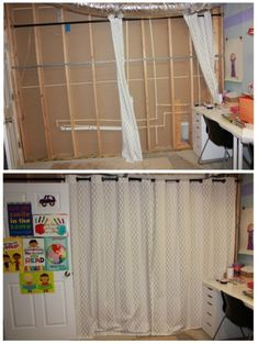 Track Basement Curtains Wall | ... IKEA Craft Room Turned an Unfinished Basement into a Beautiful Space