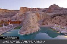 Straddling the Utah and Arizona border, Lake Powell's pristine turquoise water and stunning red rock formations call families back year after year. Many opt to spend the summer cruising around the lake on houseboats, but a nearby resort offers a deluxe desert experience.