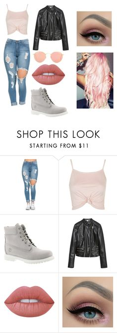 """""""outfit #1 - fall"""" by zozo-love ❤ liked on Polyvore featuring Topshop, Timberland, Zara, Lime Crime, Ray-Ban, BackToSchool and fallstyle"""