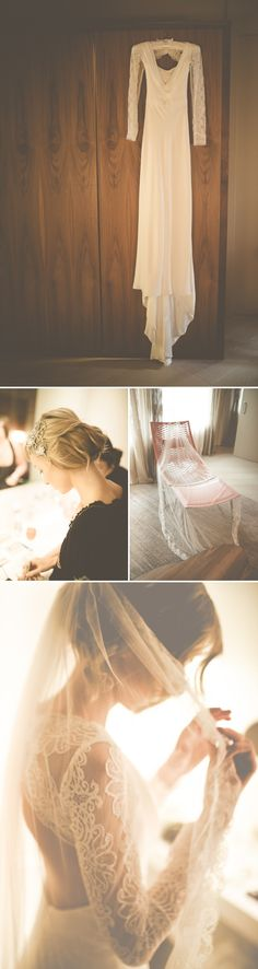 An Intimate And Luxurious Destination Wedding In Barcelona With A Suzanne Neville Regency Dress And A Jenny Packham Valentine Headpiece By Modern Vintage Weddings Photography. 0001 Daiquiris And Flamenco In Beautiful Barcelona. Wedding Pics, Wedding Styles, Wedding Gowns, Wedding Ideas, Outdoor Wedding Backdrops, Modern Vintage Weddings, Vintage Modern, Blue Suit Wedding, Vintage Wedding Photography
