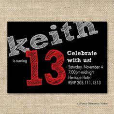 Free Boys Birthday Invitation Templates   Teen Boy's Birthday Invitation, Chalkboard Design for boys, Printable ...