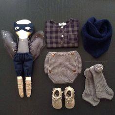 Chemise carreaux marine/gris TOCOTO VINTAGE et bloomer tricot bébé. Mode bébé. Vintage style. Baby fashion. Super-heros BORAMIRI. www.little-home.fr