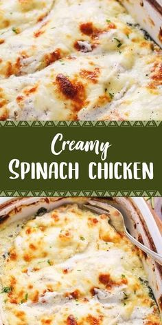 Creamy Spinach Chicken Recipe is an easy delicious dinner you can have on the table in no time at all. Creamy Spinach Chicken, Chicken Spinach Recipes, Grilled Chicken Recipes, Spinach Stuffed Chicken, Recipes With Fresh Spinach, Chicken And Spinach Casserole, Spinach Lasagna, Cooking Recipes, Healthy Recipes